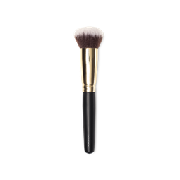 A foundation brush with a black handle and wide golden band around the bristles, which look soft and white at the tips.